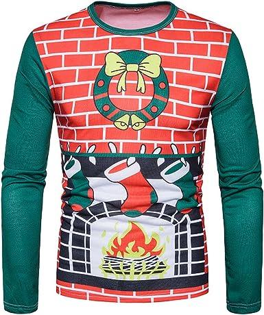 Camiseta de Navidad para Hombres, Gusspower Blusa de Impresión Navidad Otoño Invierno Tops de Manga Larga con Cuello O para Hombre: Amazon.es: Ropa y accesorios