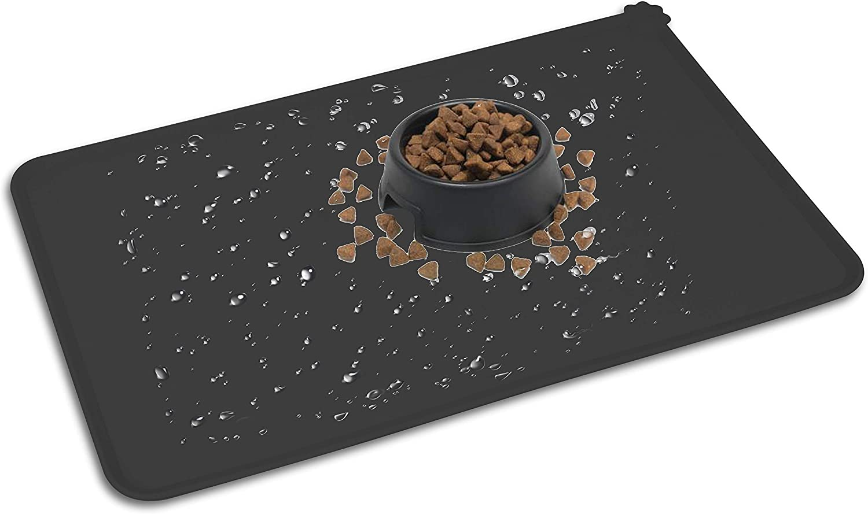 HOOSUN Pet Food Mat,Silicone Waterproof Pet Food Mat Dog Cat Pet Feeding Mat,Pet Bowl Tray Pet Food Mats for Floor with Raised Edges for Puppy Dog Cat Small Medium Animals,Pet Bowl Mats
