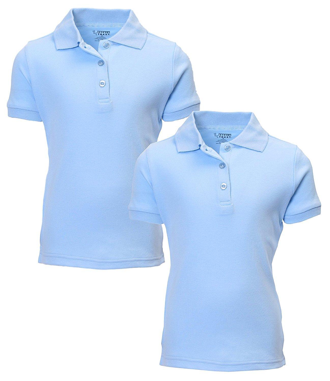 French Toast Girl's 2 Pack Uniform Short Sleeve Polo Shirts 7/8 LT Blue