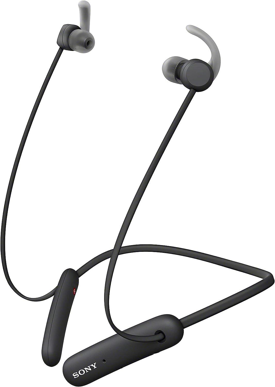 Sony WISP510 - Auriculares inalámbricos Deportivos (15 h de batería, Resistencia IPX5, diseño Neckband, Recoge Cable magnéticamente, soporta ARC, Micro para Llamadas Manos Libres), Negro