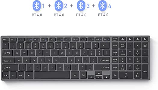 Multi Device Bluetooth Keyboard, Seenda Rechargeable Aluminum Bluetooth Keyboard with Numeric Keypad(4- Device Sync, US Layout), Black and Silver