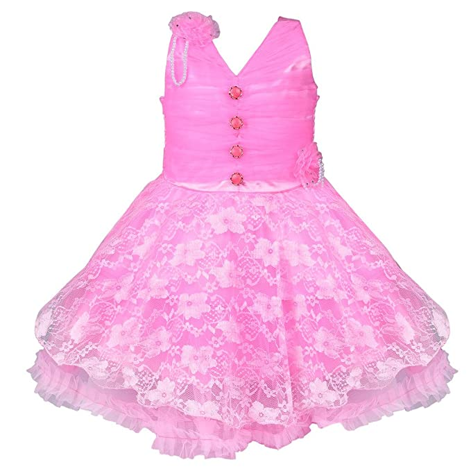 793564567 Wish Karo Baby Girls Party Wear Frock Dress DN fr1031bpknw: Amazon ...
