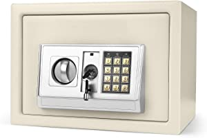 """Flexzion Digital Electronic Safe Box Keypad Lock Security Cabinet with Hidden Wall Mount Anchoring 2 Keys for Gun Money Cash Deposit Jewelry Passport Valuable Home Office Hotel (14""""x10""""x10"""") White"""