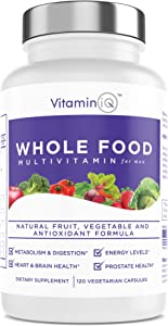 VitaminIQ - Whole Food Multivitamin for Men, 120 Vegetarian Capsules, Men's Multi Vitamin and Mineral Supplement, Antioxidant Rich, Calcium, Magnesium, Selenium, Vitamins A, B6, C, D3, E