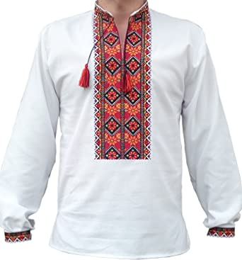 0a8f0345504 Vyshyvanka Men s Embroidered Long Sleave T-Shirt with Ethnic Ukrainian  Hutsul s Ornaments Folk Vyshyta Sorochka