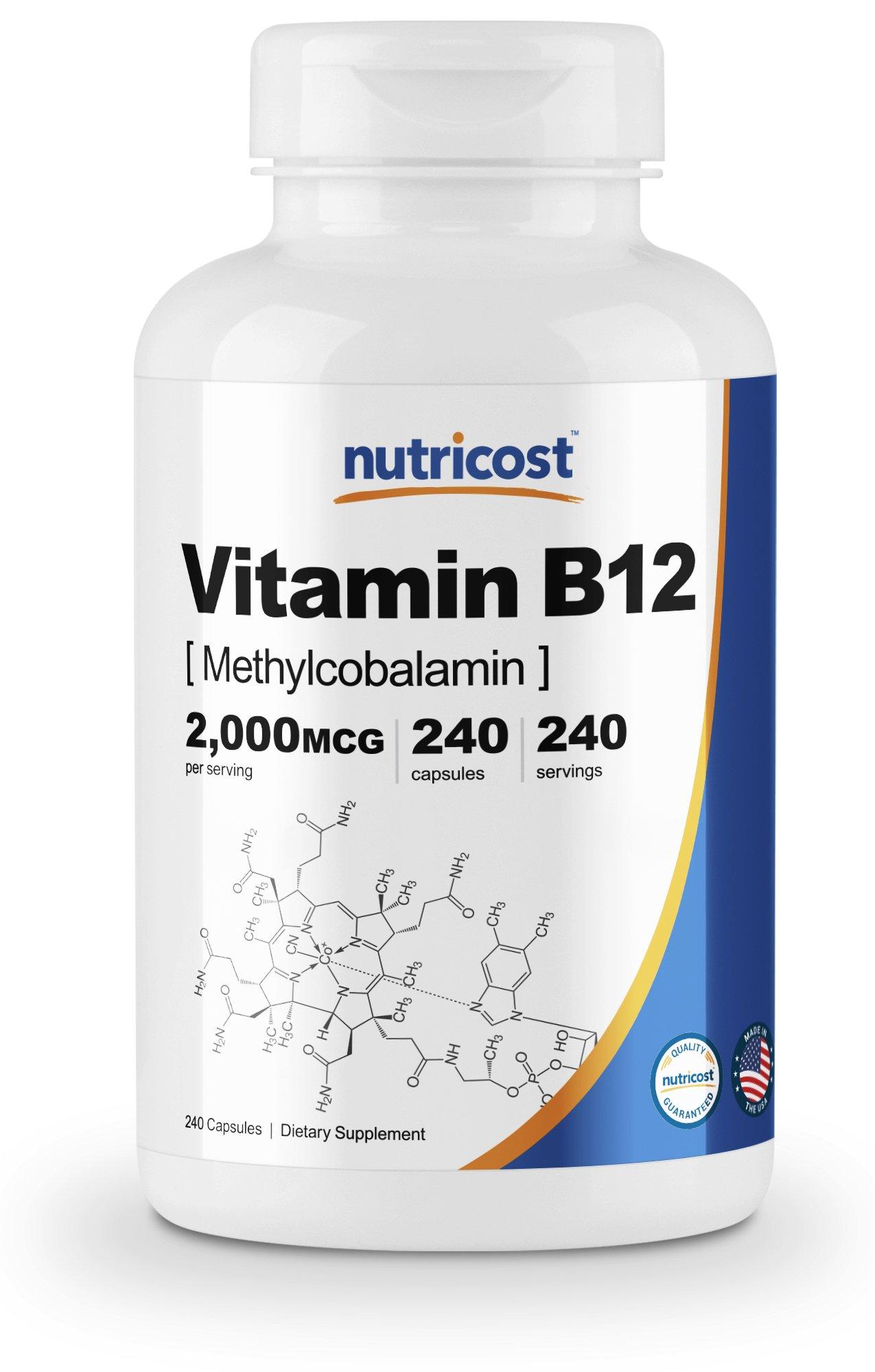 Nutricost Vitamin B12 (Methylcobalamin) 2000mcg, 240 Capsules - Non-GMO, Gluten Free B12 Supplement