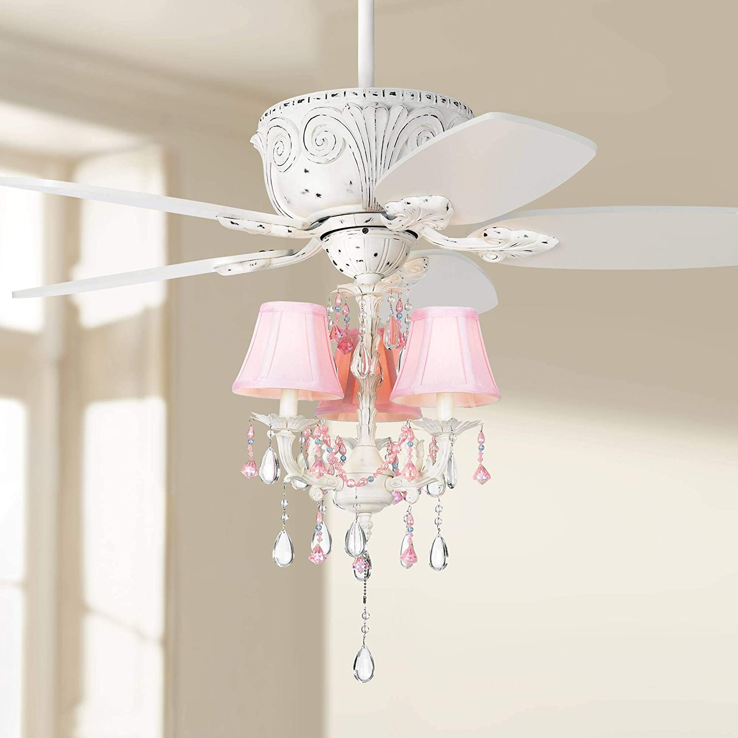 44 Casa Deville Country Vintage Chic Ceiling Fan With Light Led Crystal Chandelier Pink Shades Rubbed White For House Bedroom Living Room Home Kitchen Family Dining Office Casa Vieja Amazon Com