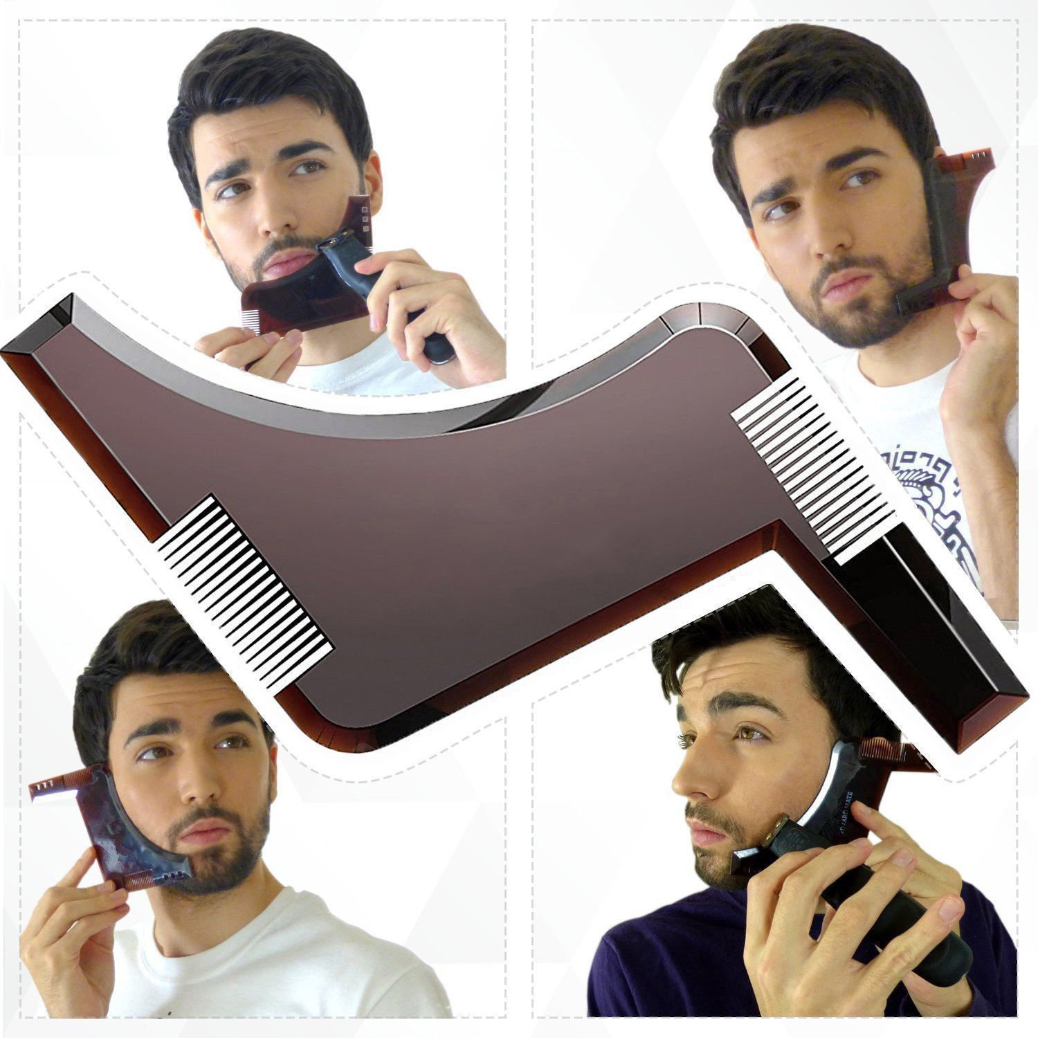 Beard Shaping Tool Template, Finlon Beard Comb, Beard Styling and Shaping Template Comb Tool Trimming Facial Hair Beard Shaving Template Beard Styling Tool Shaving Aid