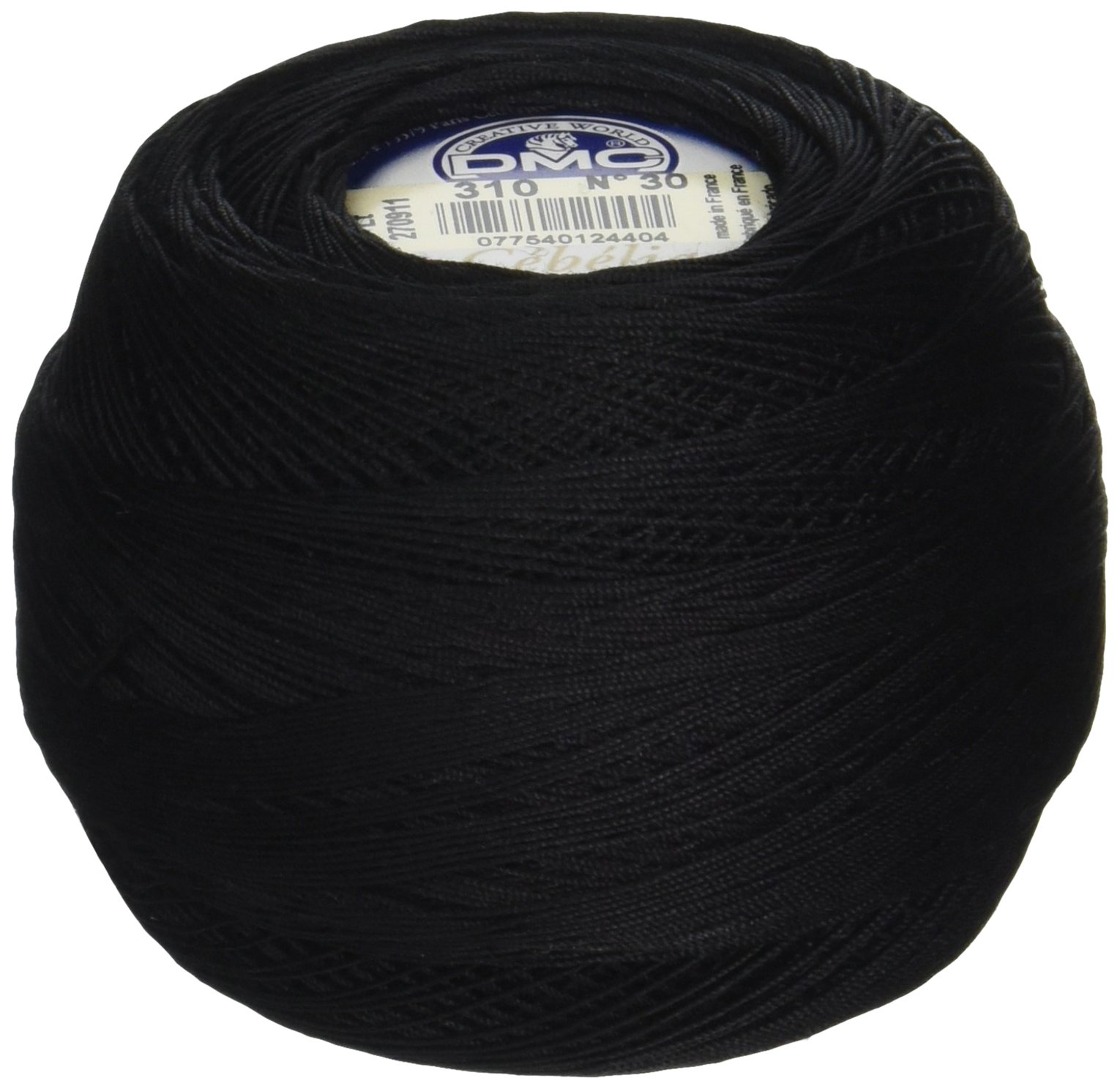 DMC 167GA 30-310 Cebelia Crochet Cotton, 563-Yard, Size 30, Black by DMC (Image #1)