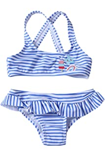 b13660c43d9 Aleumdr Girls Blue Stripes Two Piece Swimsuit Ruffle Swimwear Flounce Bathing  Suit with Bottoms 4-
