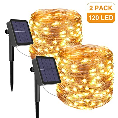 kolpop Solar String Lights Outdoor, Solar Powered Fairy Lights 39 Ft 120 LED 8 Modes Garden Copper Wire Waterproof Decoration Lighting for Tree Patio Christmas Camping Wedding Party Warm White : Garden & Outdoor