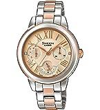 CASIO 卡西欧女士指针式石英手表,不锈钢表带,SHE-3059SPG-9AUER