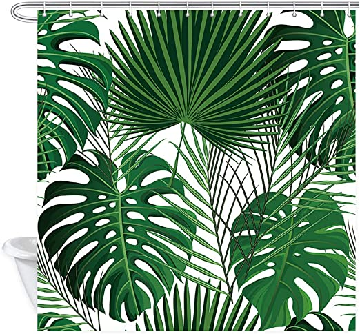 Amazon Com Nymb Green Tropical Plants Shower Curtains For