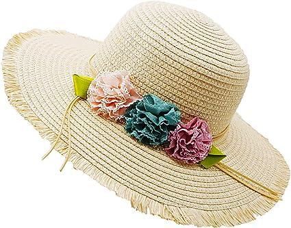 Beautiful Flowers Lace Beach Lightweight Straw Sun Hat For Girl