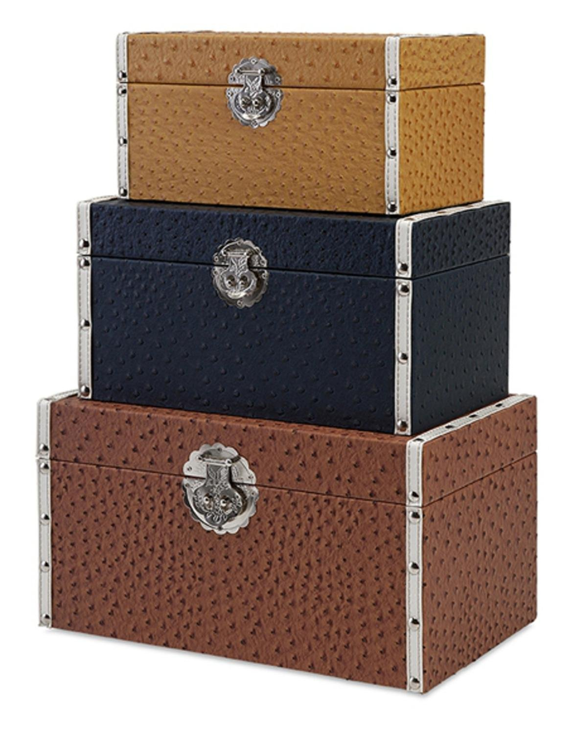 Set of 3 Rich Brown, Black and Gold Embossed Ostrich Pattern Storage Trunks