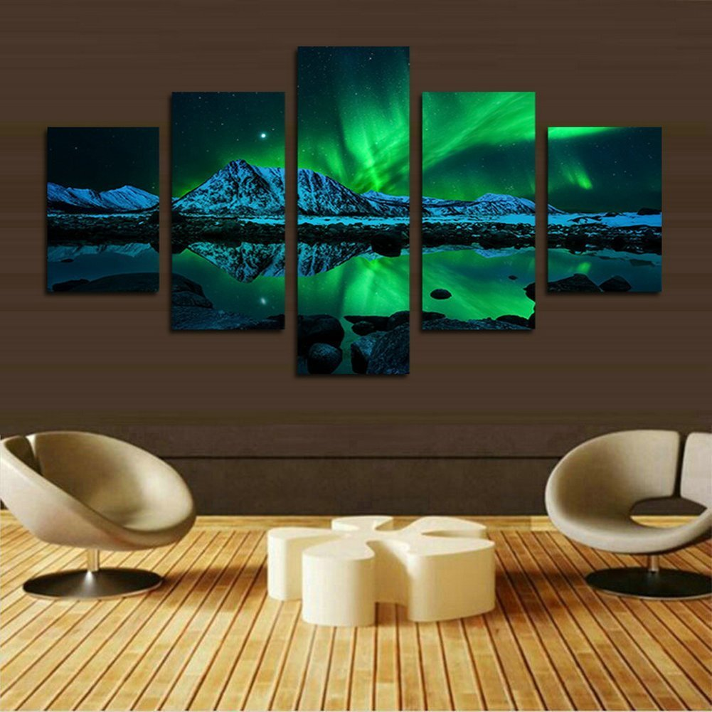 Blxecky DIY 5D Diamond Painting Cross Stitch Crafts Kit, 5 sets of splicing paintings. Home living room decoration. aurora by Blxecky (Image #3)