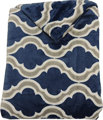 Mezzati Velvet Plush Throw Blanket - Amazingly Comfy, Soft and Cozy - Elegant and Modern Designs and Colors - Perfect for Couch, Sofa (Deep Sea Blue Wave)