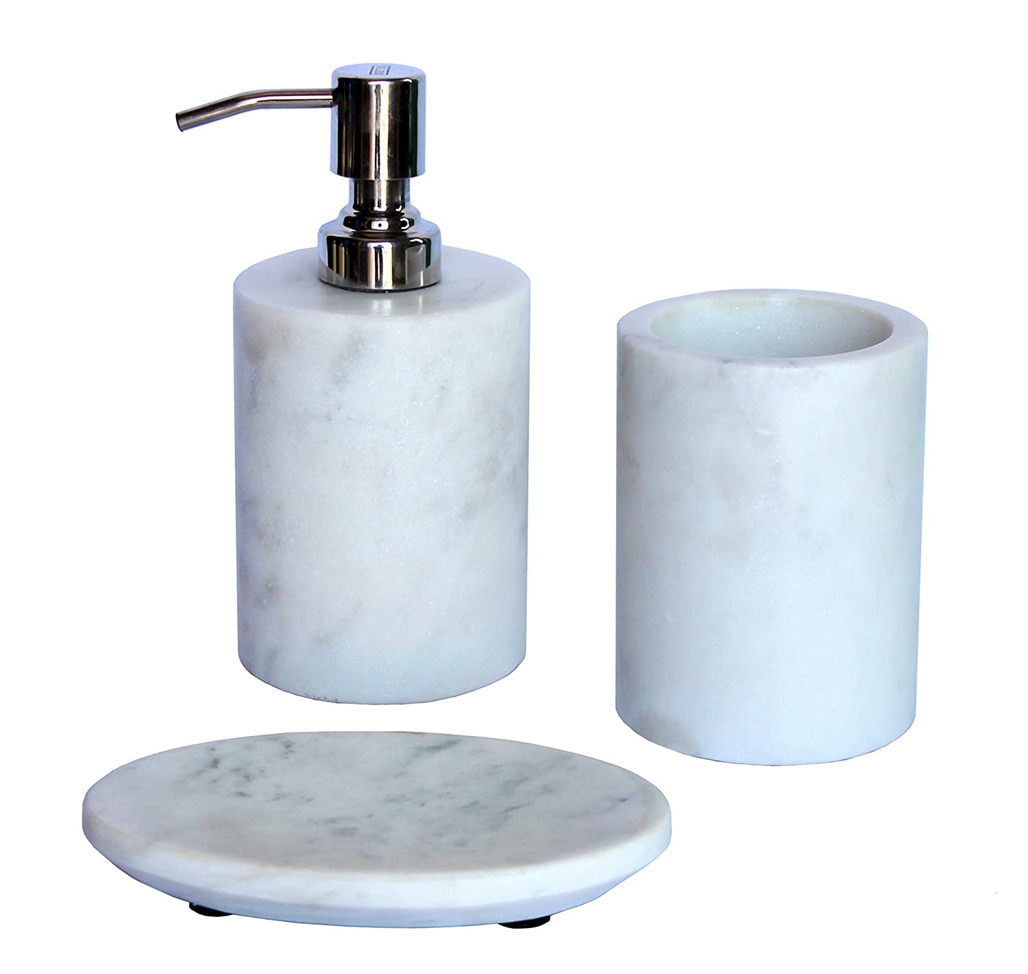 Bathroom Accessories.Kleo Bathroom Accessory Set Made From Natural Stone Bath Accessories Set Includes Soap Dispenser Toothbrush Holder Soap Dish White Set Of 3