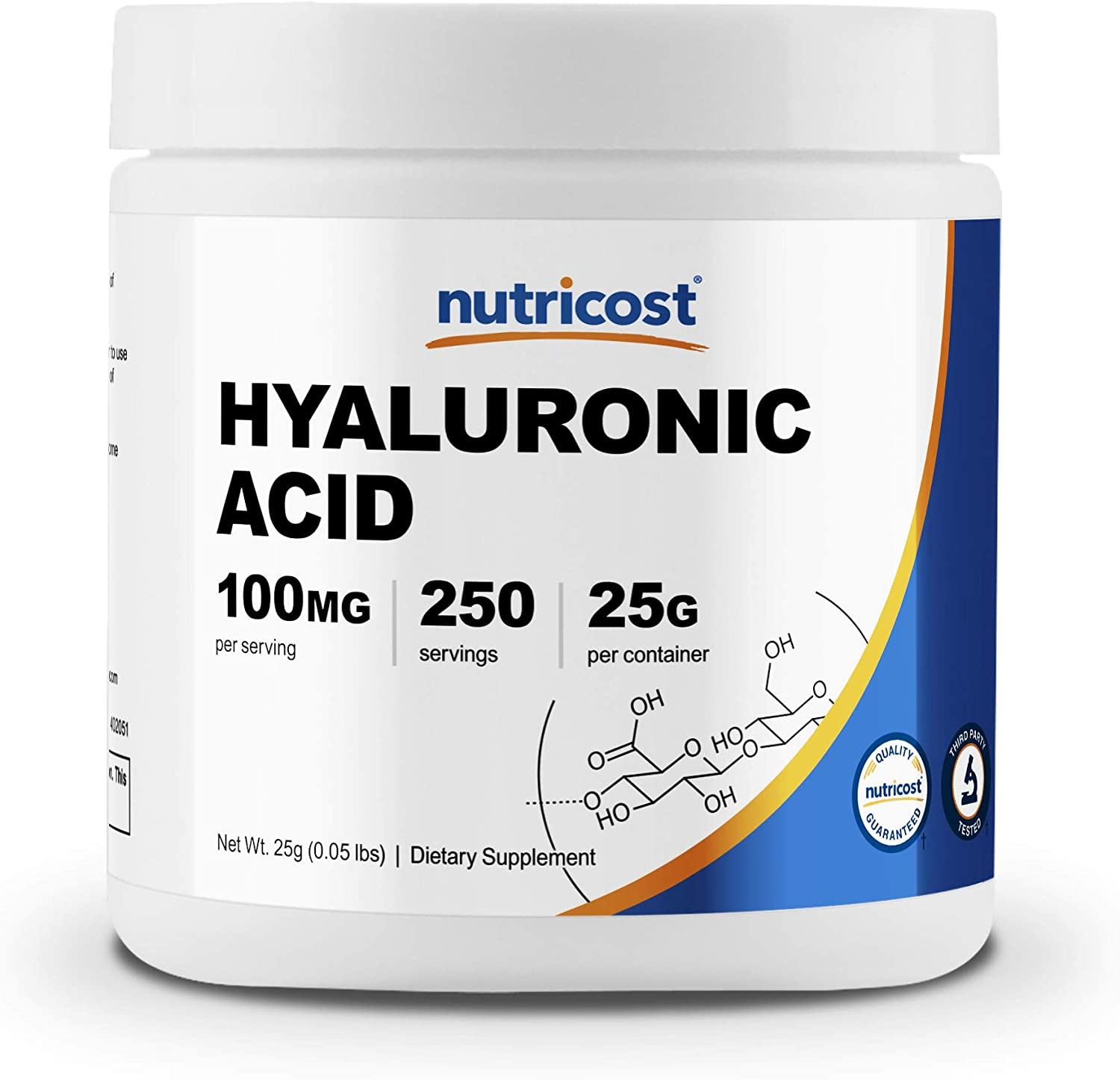 Nutricost Hyaluronic Acid Powder 25 Grams - Non-GMO and Gluten Free