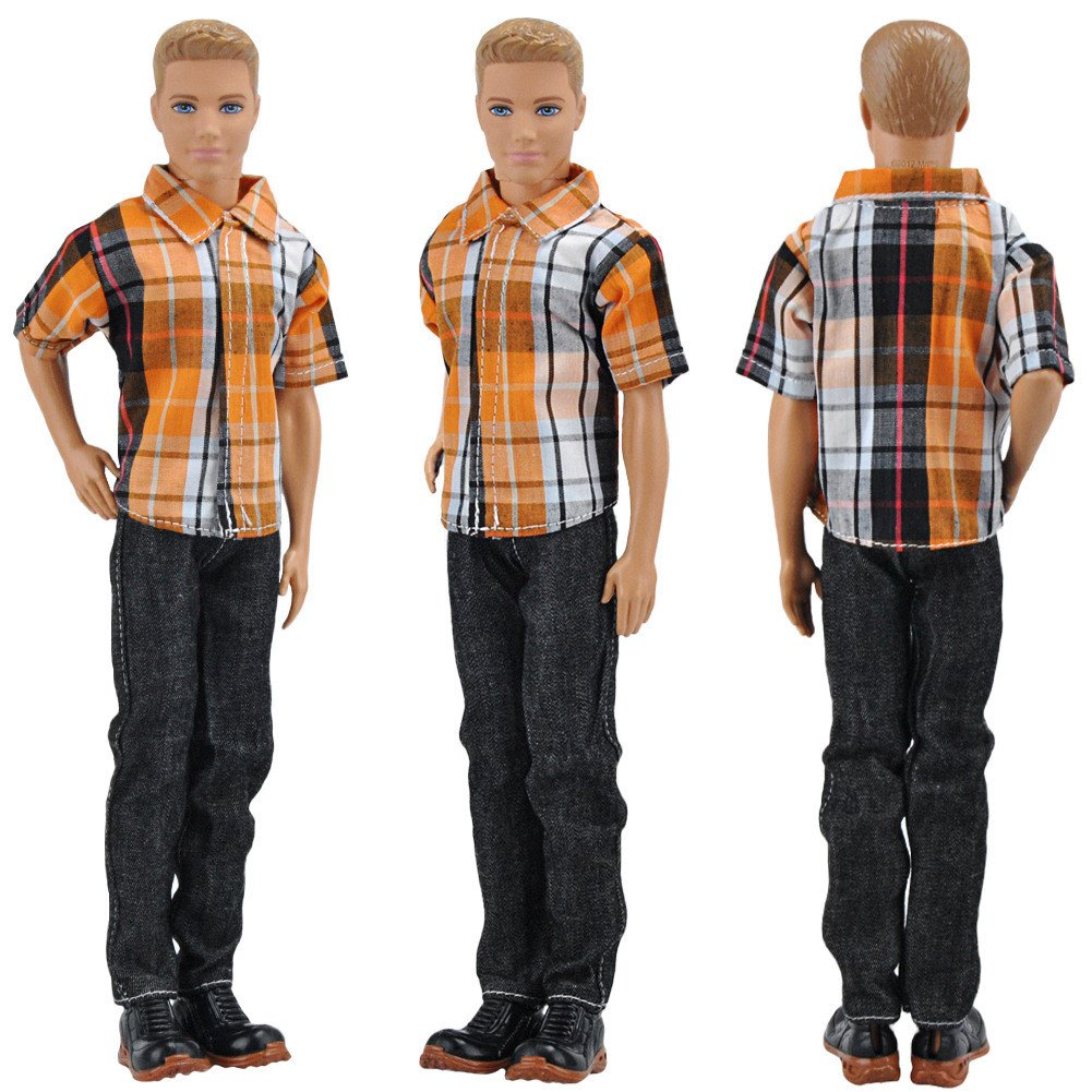 E-TING 3 Sets Casual Wear Plaid Shirt T-shirt Jeans Pants Trousers Doll Clothes for Boy Doll (#A1)