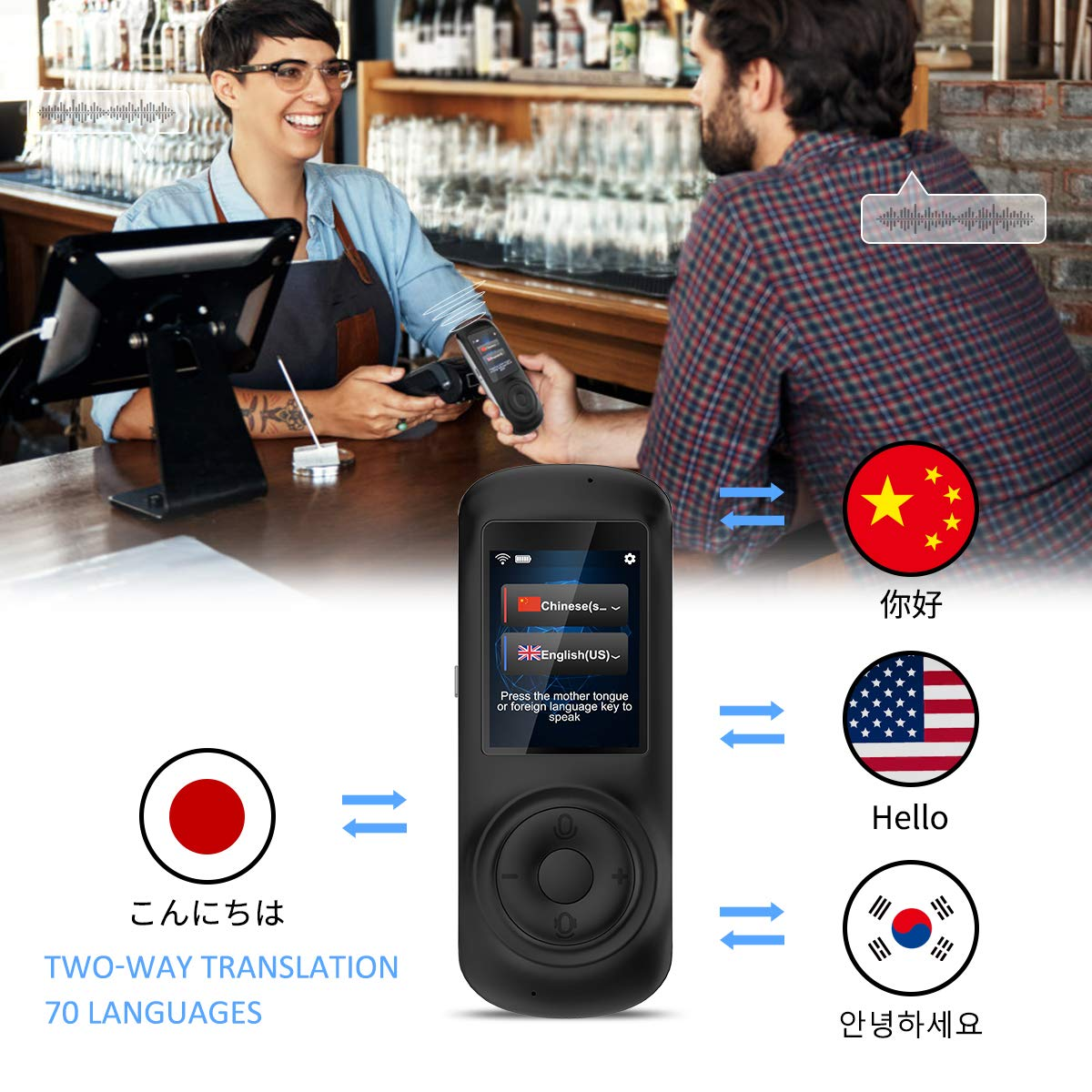 MORTENTR Translator Device Smart Voice Translator with 2.4inch HD Touch Screen Support 70 Languages for Learning Travel Business Shopping by MORTENTR (Image #3)