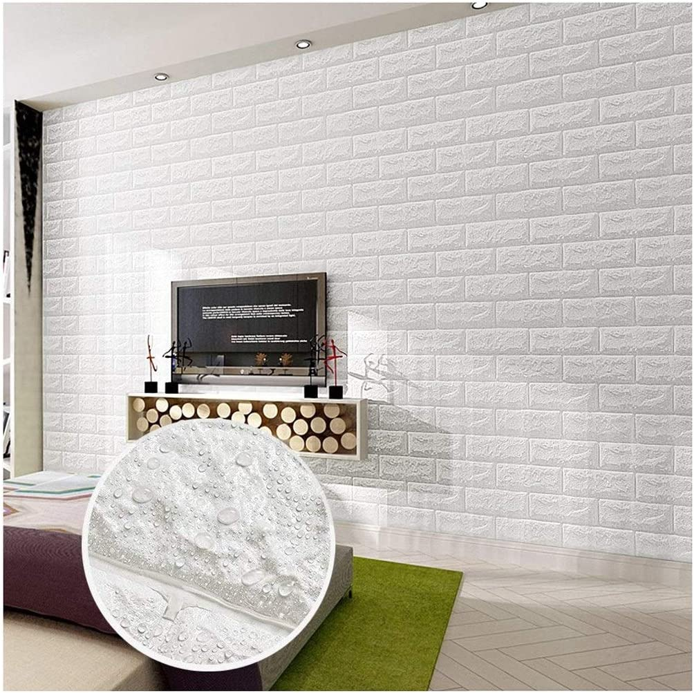 Chfhxj Wall Stickers Brick Wallpaper 3d Living Room Kids Bedrooms Wall Art Stickers White Self Adhesive Pe Foam Tv Wall Decoration 30 X27 70x77cm Bar Diy Detachable Girls Boys Removable Wallpaper Home