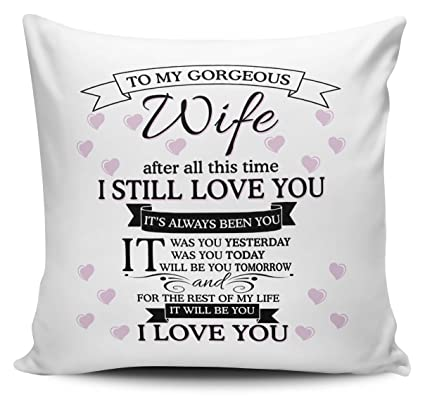 Carterisaac To My Gorgeous Wife I Love You Cushion Pillow With Inner Insert