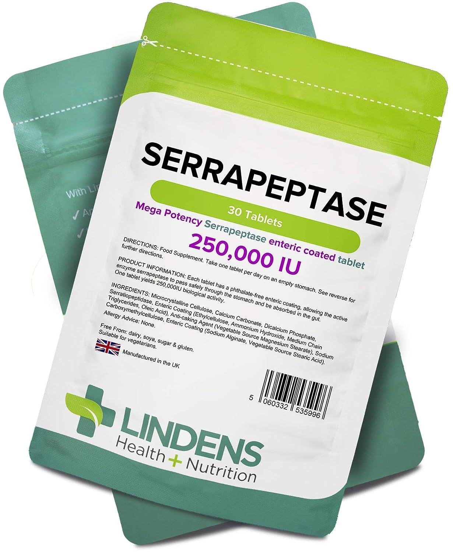 Lindens Serrapeptase 250 000 UI de gran potencia en comprimidos | 30 Paquete | Comprimido de recubrimiento entérico ultrapotente y sin ftalatos para ...