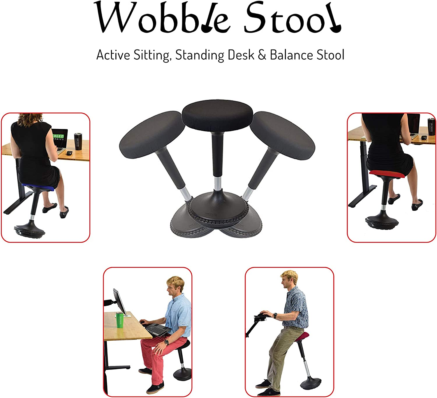 PULUOMIS Balance Perch Stool Saddle Design Wobble Stool Adjustable Height 22-27 Inch for Active Sitting Office Standing Desk Swivel Stool Blue