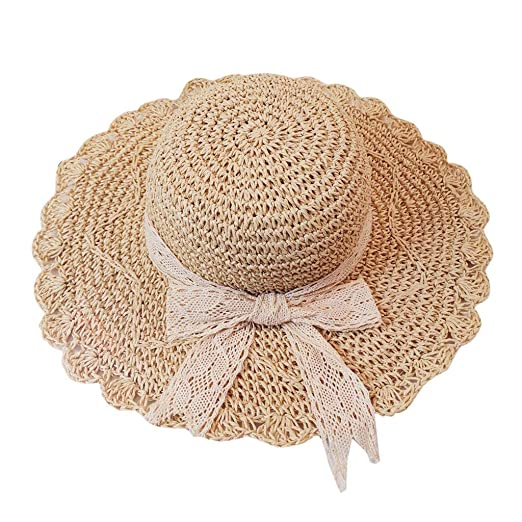 4959b4afd26bd Toponly Women s Beachwear Sun Hat Bowknot Straw Hat Floppy Big Brim Hat  Beige at Amazon Women s Clothing store