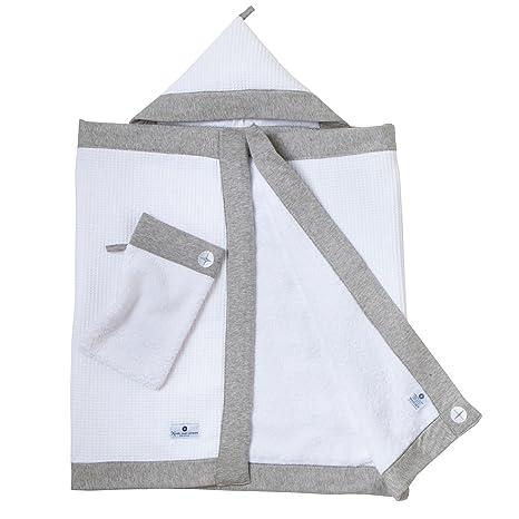 Toalla para bebé (Capucha de Nordic Coast • Blanco con beige • flauschiges 100 x