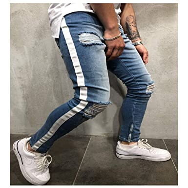 22b068cd658 Daqinghjxg Men's Knee Hole Side Zipper Slim Distressed Jeans Ripped Tore Up  Slim Stripe Pants at Amazon Men's Clothing store: