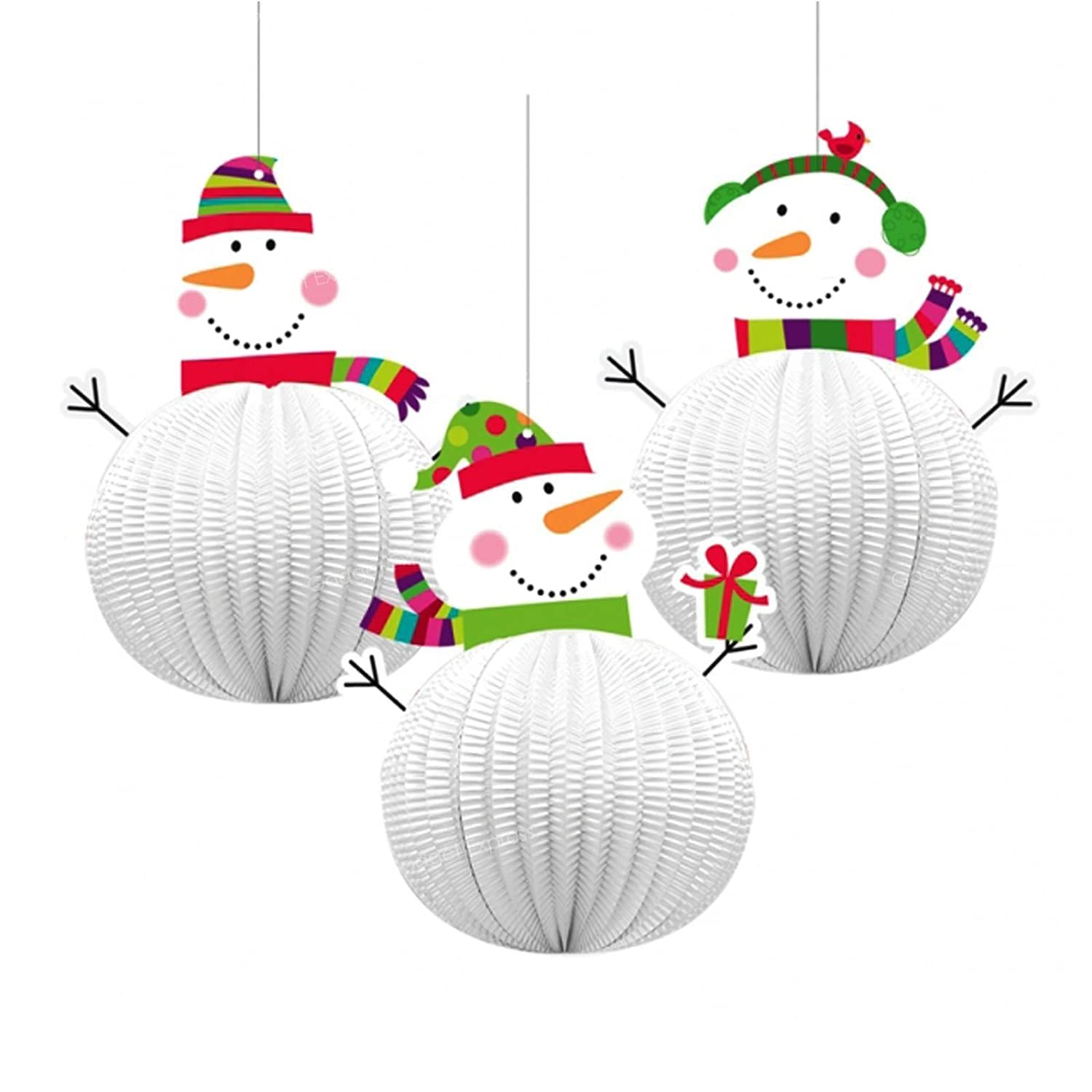 3 x Honeycomb Jolly Snowman 3D Xmas Hanging Party Festive Decorations Christmas Ceiling Window Wall 20.3cm Tall Paper and Card Three Designs Amscan