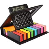 KABEER ART Sticky Note Memo Pad with Arrow Flags in PU Leather Case with Built-in Calculator,Neon Colors