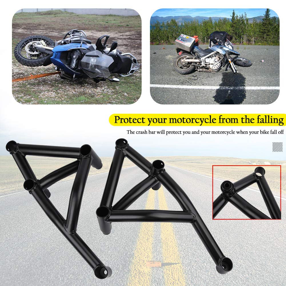 Black Engine Guard Crash Bar For 2014 2015 2016 Yamaha MT09 FZ09 Tracer 900 GT Subcage Front Rear Stunt Cage Passenger Peg Fulfilled By Rear Cage