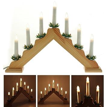 Weihnachtsdeko Fenster Holz.Amazon De 2 Stück Holz Dreieck Aus Lit Bridge Fenster