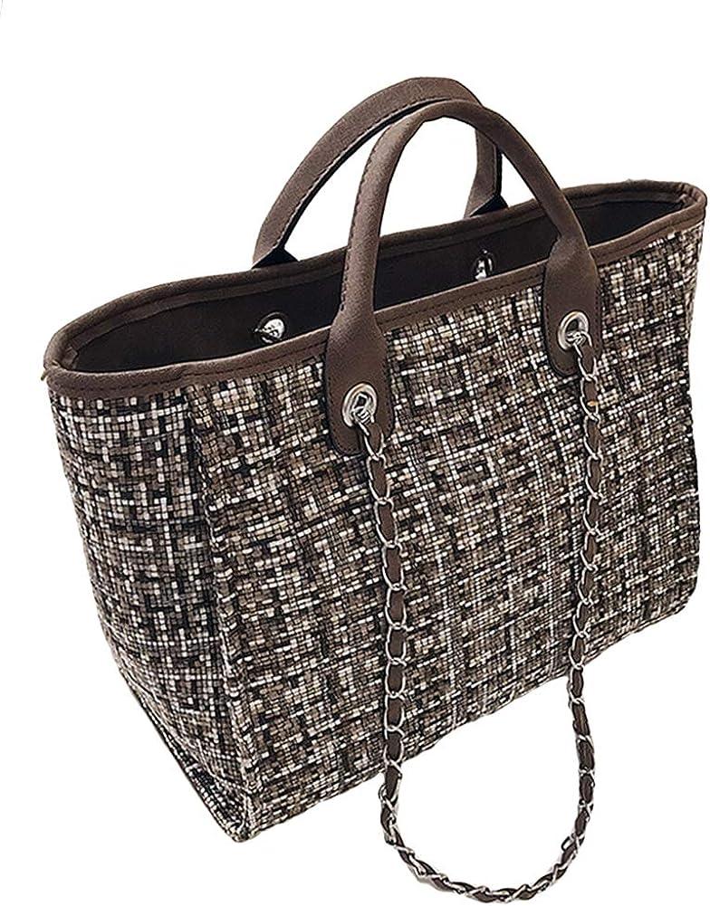 Women handbags Messenger Bag Ladies Crossbody Bag Fashion Color Block Large Capacity Zipper Tote Woolen Cloth Shoulder Bag