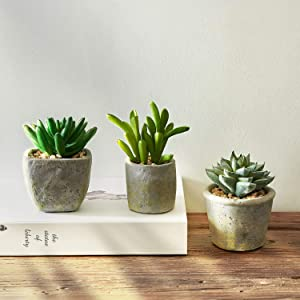 MOTINI Green Mini Artificial Plants Faux Potted Succulent Fake Realistic Plant in Cement Pots for Home Office Decor Indoor, Set of 3