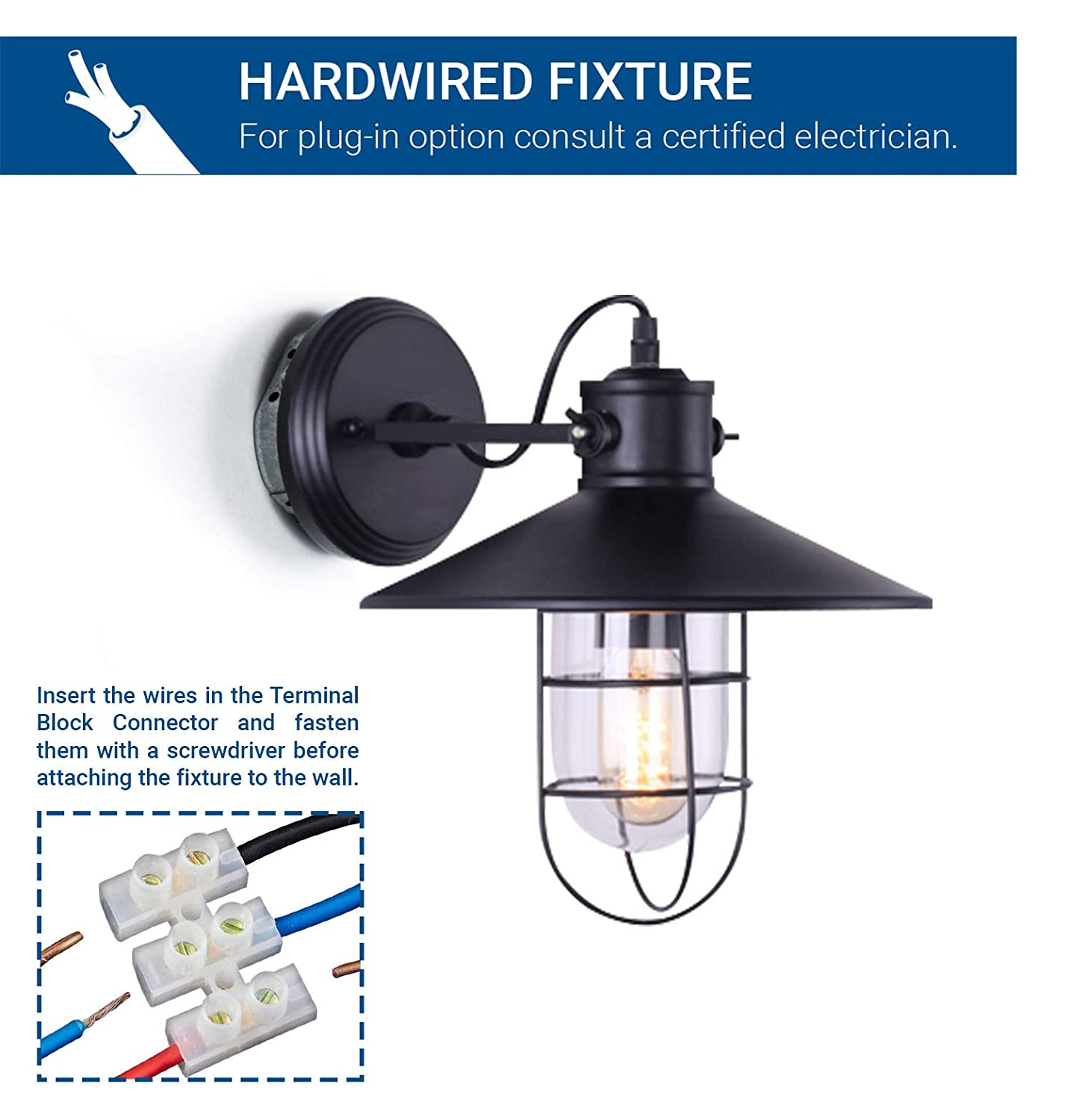 Hyperikon Wall Light Sconce Black Industrial Fixture With Wiring A Plug To Metal Wire Cage 1 Vintage 110v Rustic Farmhouse Antique