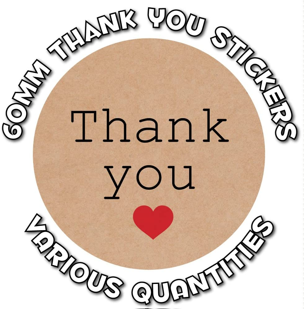 Thank you stickers 60mm 24 Kraft paper effect great for envelope sealing