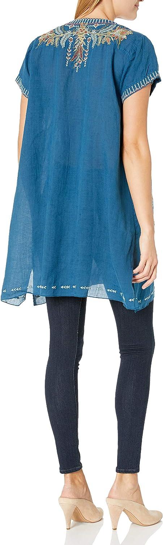 3J Workshop Women's Hevea Notched Neck Drape Tunic Shirt Blue Twilight
