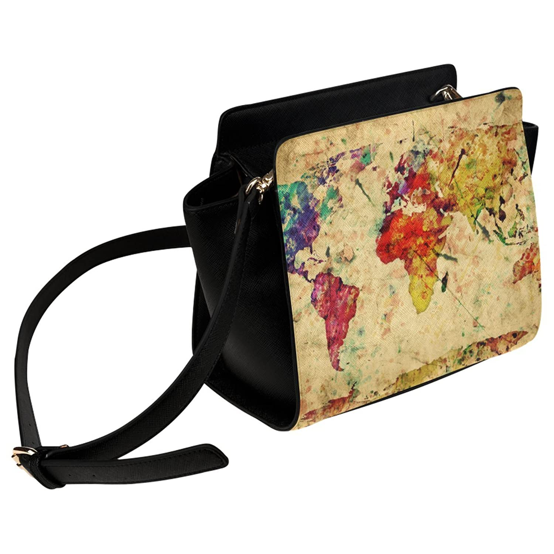 InterestPrint World Map Women Shoulder Bag Satchel Bag Purse - PU Leather