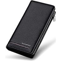 WILLIAMPOLO Men Wallets Long Clutch Holder Organizer Genuine Leather Business Phone Purse Passport Credit Card Money