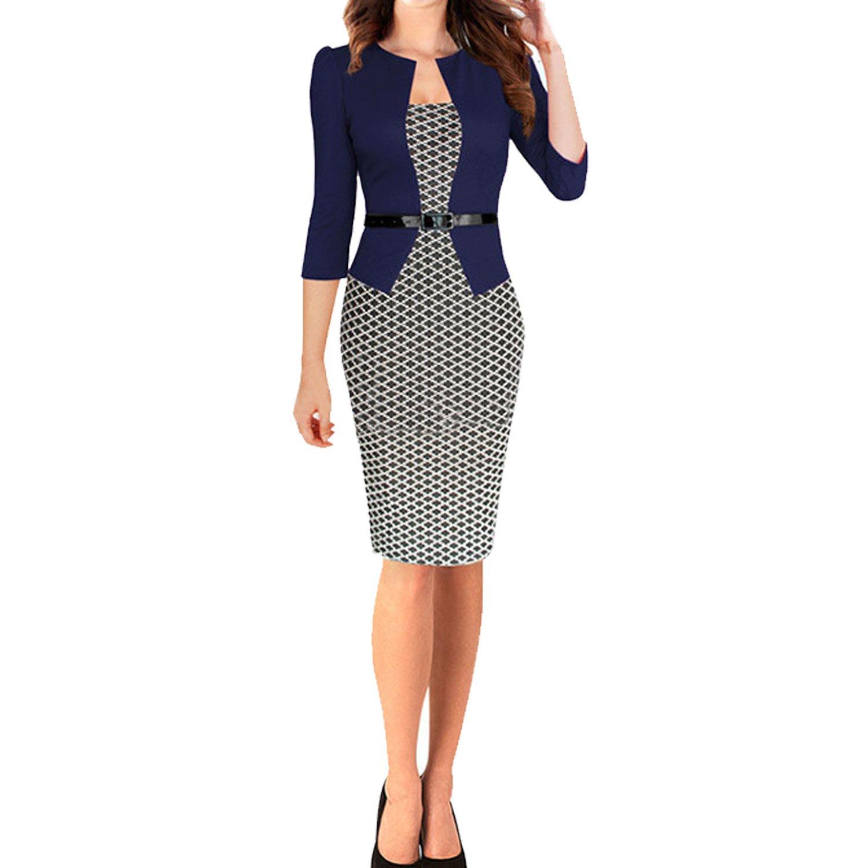 SUNNOW® NEU Damenmode Kleider Party 3/4 Ärmel Bleistift-Kleid geometrische Muster Bürokleid Abendkleid Cocktailkleider Knielang