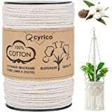 cyrico Macrame Cord 3mm x 252 Yards, 100% Natural Unbleached Cotton Macrame Rope - 3 Strands Twisted Macrame Cotton Cord…