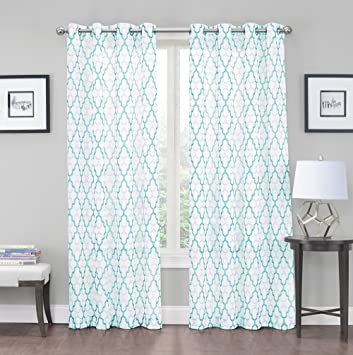 2 Pack: Kendall Luxurious Trellis Crushed Grommet Sheer Voile Curtains By  GoodGram®   Assorted