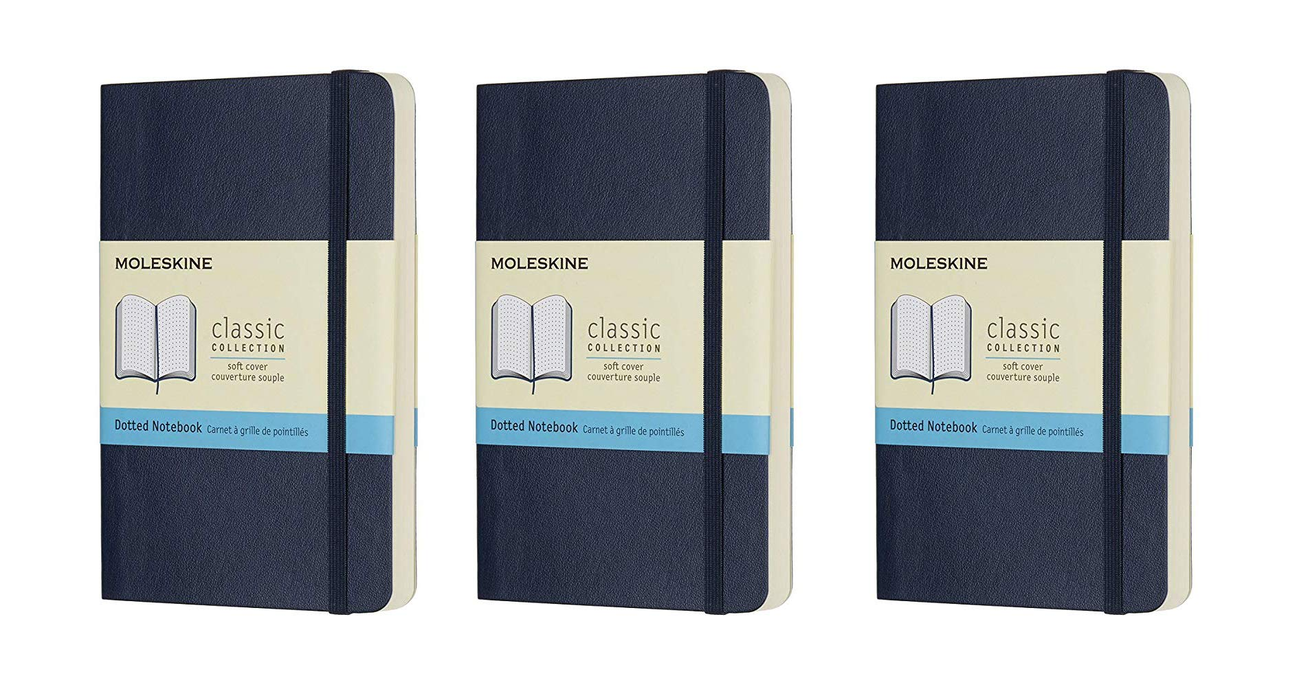 Moleskine Classic Colored Notebook, Pocket, Dotted, Sapphire Blue, Soft Cover (3.5 x 5.5) Pack of 3