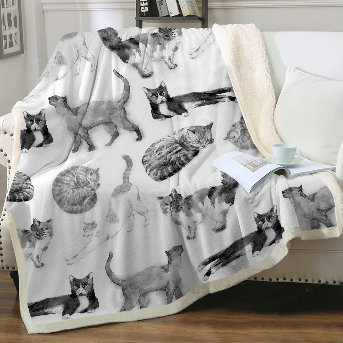 "Sleepwish Cat Fleece Throw Blanket Girls Kids Cute Animals Pet Sherpa Blanket for Bed Couch Chair Super Soft Warm and Comfy Cat Lover Gifts,Watercolor Vintage Black White Cats, Twin (60"" X 80"")"
