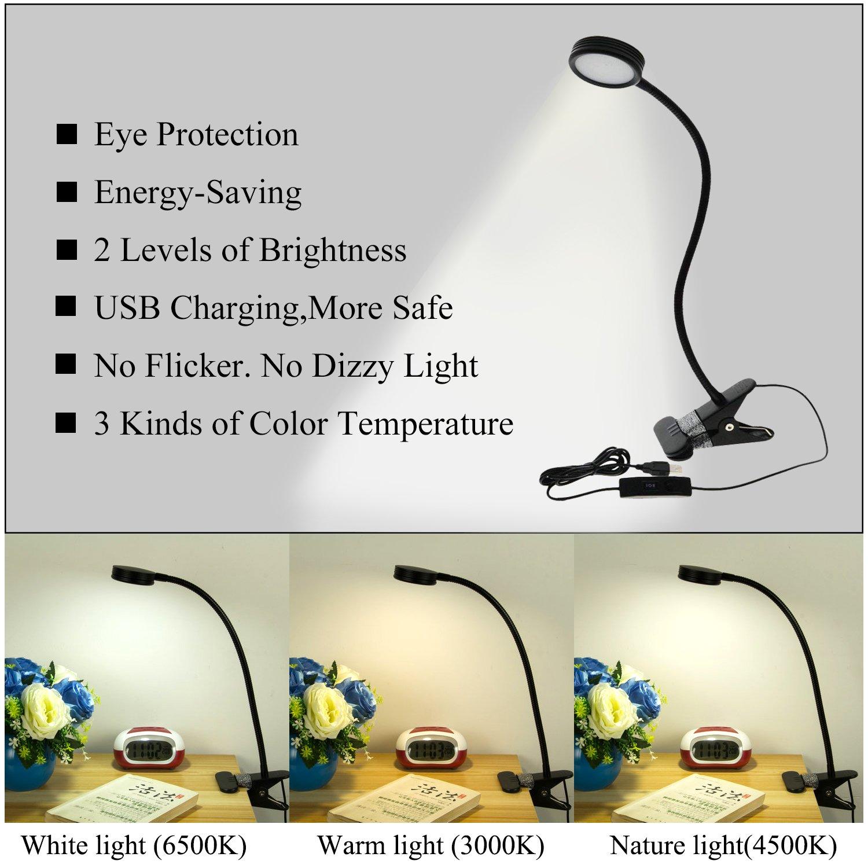 Apluses LED USB Clip Light, Desk Clip On Lamps, Bedside Reading Lamp ...