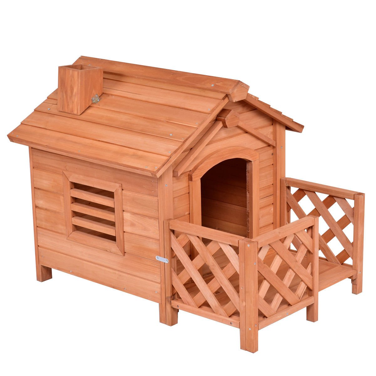 Tangkula Pet House Wood Outdoor Dog House Kennel Crates with Porch